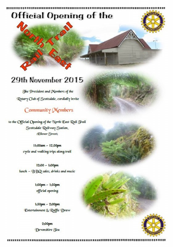 Scottsdale to Tonganah North East RailTrail section opening - Sunday 29 November